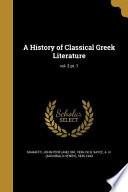 HIST OF CLASSICAL GREEK LITERA