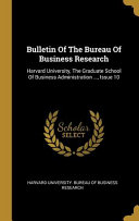 Bulletin Of The Bureau Of Business Research