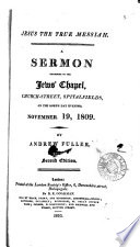 Jesus The True Messiah A Sermon Lond Soc For Promoting Christianity Amongst The Jews