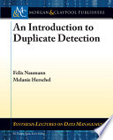 An Introduction To Duplicate Detection Book PDF