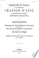 Charakteristik der Personen in der altfranzösischen Chanson d'Aiol mit Zusammenstellung der bezüglichen Epitheta ornantia