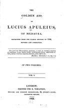 Pdf The Golden Ass of Lucius Apuleius, of Medaura