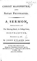Christ manifested  and Satan frustrated  A sermon  on 1 John iii  8   etc