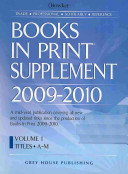 Books In Print Supplement 2009 2010