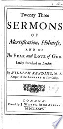 Twenty Three Sermons of Mortification  Holiness  and of the Fear and Love of God Book