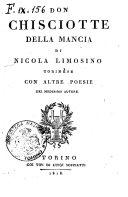 Don Chisciotte della Mancia di Nicola Limosino torinese con altre poesie del medesimo autore