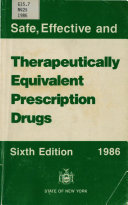 Safe  Effective and Therapeutically Equivalent Prescription Drugs Book