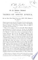 On The Religious Sentiment Amongst The Tribes Of South Africa