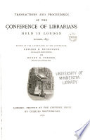 Transactions and Proceedings of the Conference of Librarians
