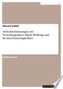 Nebenbestimmungen des Verwaltungsaktes: Inhalt, Wirkung und Rechtsschutzmöglichkeit