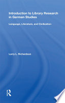 Introduction To Library Research In German Studies