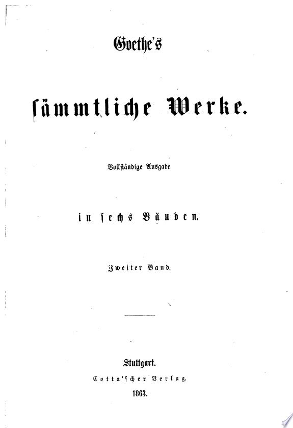 Goethe's sämmtliche Werke