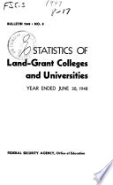 Statistics of Land grant Colleges and Universities Book