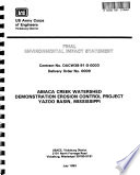 Yazoo Basin  Abiaca Creek Watershed Demonstration Erosion Control Project