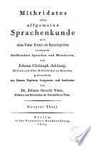 Mithridates oder Allgemeine Sprachenkunde