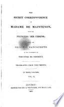 The Secret Correspondence Of Madame De Maintenon With The Princess Des Ursins Transl Book PDF
