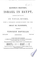 Handel's Oratorio, Israel in Egypt (composed in the Year 1738)