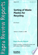 Sorting Of Waste Plastics For Recycling Book PDF