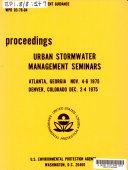 Urban Stormwater Management Seminars