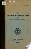 A Select List of Reference and Research Tools in Maulana Azad Library