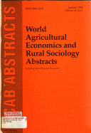World Agricultural Economics and Rural Sociology Abstracts Book