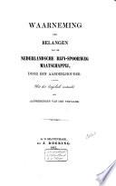 Waarneming der belangen van de Nederlandsche Rijn-Spoorweg-Maatschappij