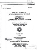 Systems Studies of Automated Highway Systems  Appendix II   Analysis of Automated Highway Systems  Final Report