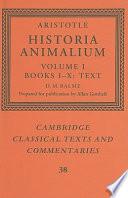 Aristotle   Historia Animalium   Volume 1  Books I X  Text