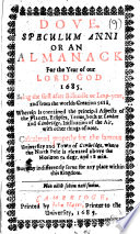 Dove Speculum Anni Or An Almanack For The Year Of Our Lord God 1685