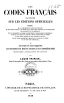 Les codes français collationnés sur les éditions officielles