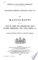 The Manuscripts of the Duke of Leeds, the Bridgewater Trust, Reading Corporation, the Inner Temple, &c