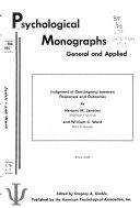 Psychological Monographs Book