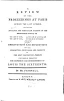 A Review of the Proceedings at Paris During the Last Summer