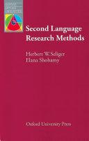 Second Language Research Methods   Oxford Applied Linguistics