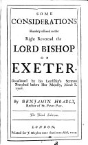 Some Considerations Humbly Offered to the Right Reverend the Lord Bishop of Exeter ebook