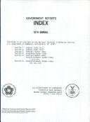 Government Reports Annual Index Book