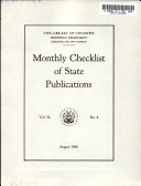 Monthly Checklist of State Publications Book