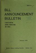 BLL Announcement Bulletin