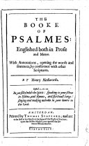 The Booke of Psalmes: Englished Both in Prose and Metre
