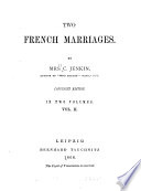 Two French Marriages Book