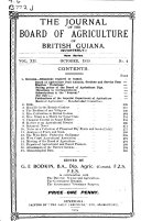 The Journal Of The Board Of Agriculture Of British Guiana