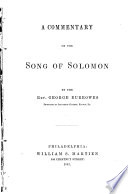 A Commentary on the Song of Solomon Book