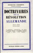 Pdf Doctrinaires de la revolution allemande (1918-1939) Telecharger