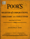 Poor S Register Of Corporations Directors And Executives United States And Canada Book PDF