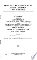 Energy Data Requirements of the Federal Government