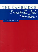 The Cambridge French English Thesaurus