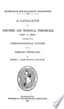 A Catalogue of Scientific and Technical Periodicals, (1665 to 1882)