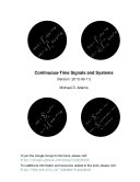 Continuous-Time Signals and Systems (Version 2013-09-11)