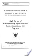 Staff Survey of State Disability Agencies Under Social Security and SSI Programs