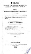 Poems Written and Published During the American Revolutionary War  and Now Republished from the Original Manuscripts